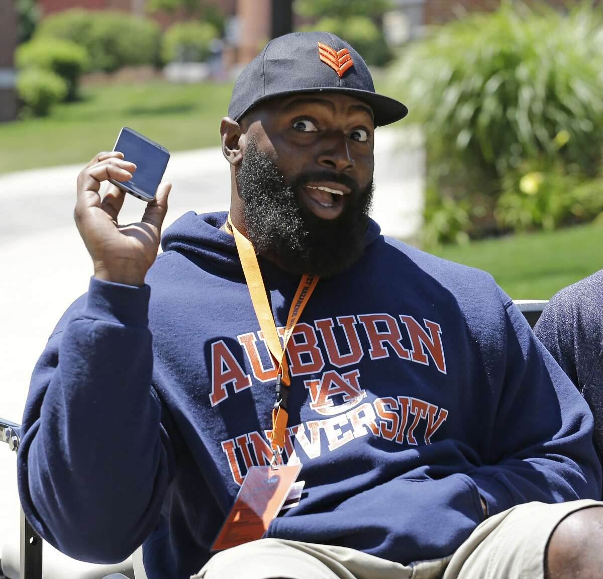 FILE - In this July 23, 2014, file photo, then-Chicago Bears defensive tackle Jeremiah Ratliff (90) poses for the media during the team's NFL football training camp at Olivet Nazarene University in Bourbonnais, Ill. A Lake Forest, Ill. police report released Friday, Oct. 30, 2015, says that the former player threatened team staff, saying he