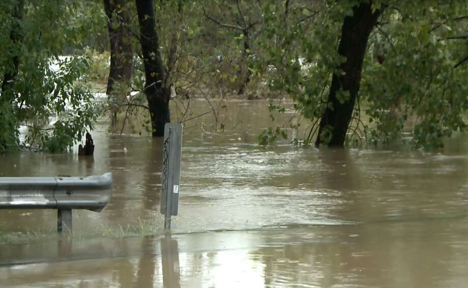 Oct. 31: White Oak Bayou overruns its banks. Photo: Metro Video