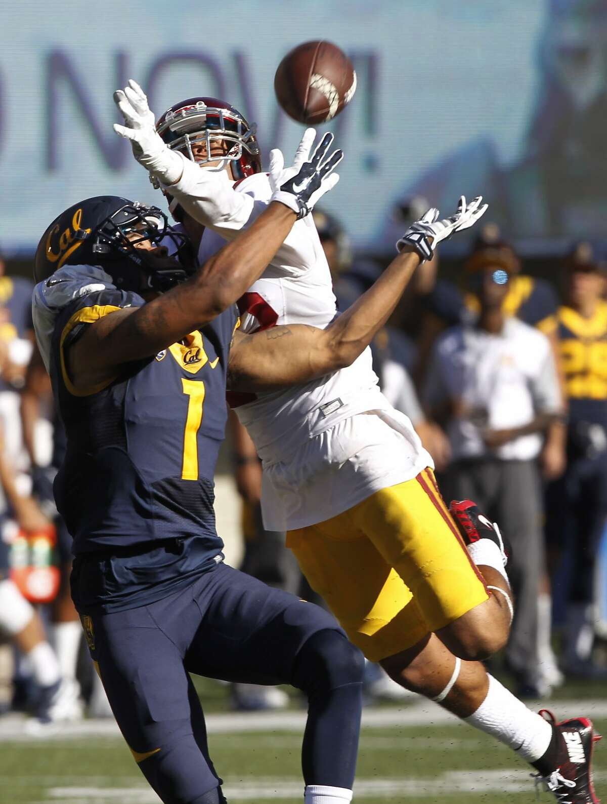 A pass interference call on USC's Jonathan Lockett (right) on Cal receiver Bryce Treggs helps set up a Bears touchdown in the 4th quarter of the Cal Bears game against the USC Trojans at Memorial Stadium in Berkeley, Calif. on Saturday, Oct. 31, 2015.