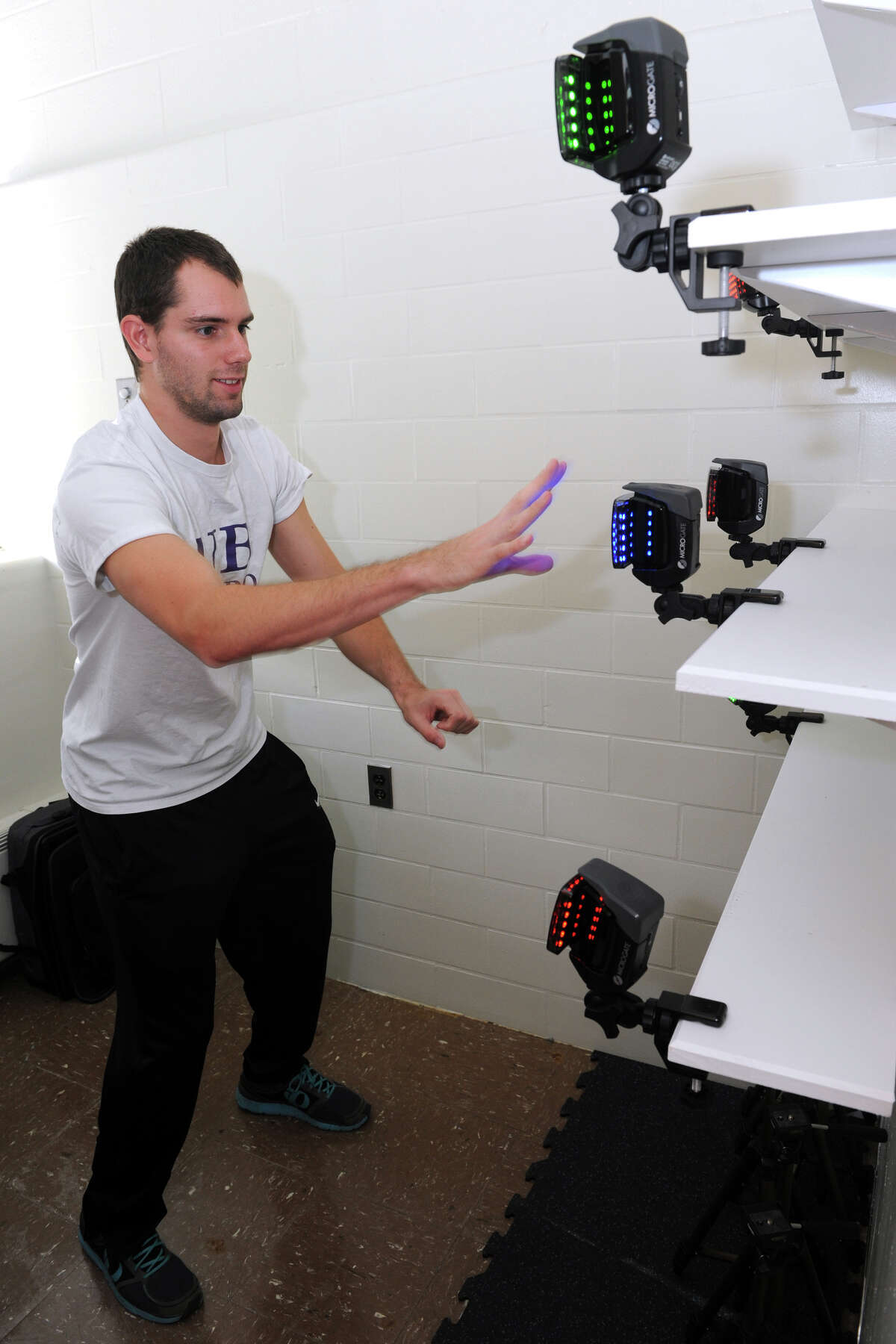 Scott Colello, a second year Chiropractic student from Poughkeepsie, NY takes part in an agility test, part of biomotor skills testing at the University of Bridgeport, in Bridgeport, Conn. Oct. 27, 2015.