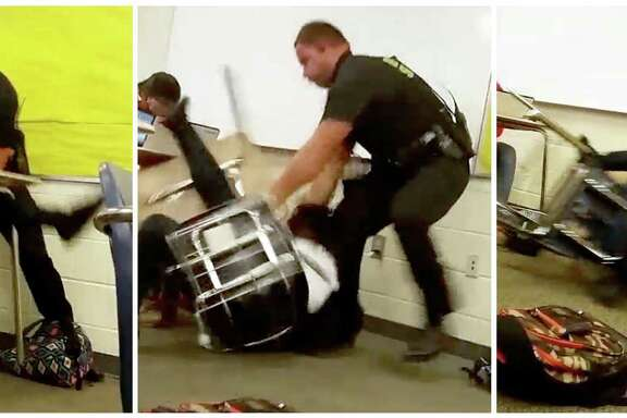 Images from video taken by a Spring Valley High School student on Monday show Senior Deputy Ben Fields trying to remove a student from her chair.