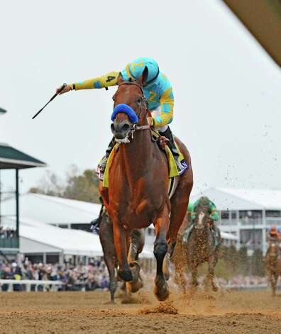 Jockey Victor is jubilant aboard American Pharoah as he wins the Breeders' Cup Classic in track record time Oct. 31, 2015 at Keeneland Race Track in Lexington, KY  (Skip Dickstein/Times Union) Photo: SKIP DICKSTEIN
