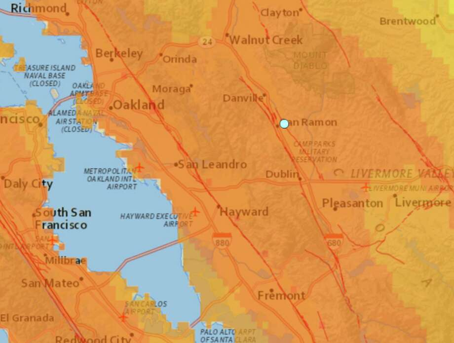 Two earthquakes struck San Ramon minutes apart late on October 31, 2015. The first earthquake at 11:32 p.m. was a 3.0-magnitude and the second quake, at 11:38 p.m., had a 3.1-magnitude Photo: USGS