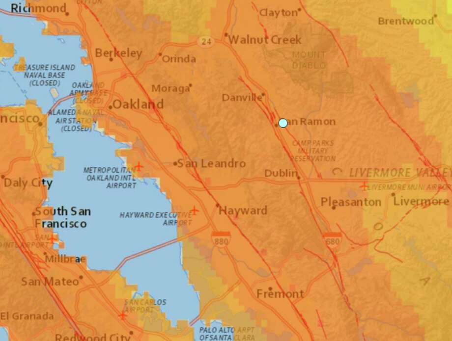 San Ramon Earthquake Map.Two Earthquakes Strike San Ramon Minutes Apart Sfgate