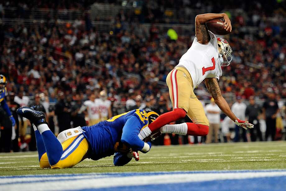 Michael Brockers #90 of the St. Louis Rams sacks Colin Kaepernick #7 of the San Francisco 49ers in the second quarter at the Edward Jones Dome on November 1, 2015 in St. Louis, Missouri. (Photo by Michael B. Thomas/Getty Images) Photo: Michael B. Thomas, Getty Images