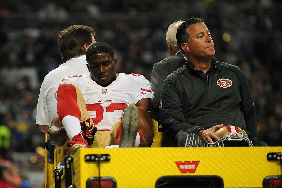 Reggie Bush is carted off the field after sustaining a torn MCL in a loss to the Rams on Nov. 1.  How last year's free agent signings turned out for the 49ers:  Photo: Michael B. Thomas, Getty Images