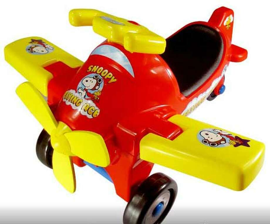 LaRose Industries is recalling the Peanuts Flying Ace Ride-On toy. Photo: U.S. Consumer Product Safety Commission / CPSC