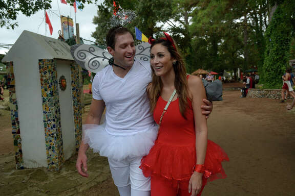 "Patrick Burch, left, and Hilary Sealy, both of Houston (77007), switched roles as an angel and a devil for ""All Hallows Eve"" weekend at the Texas Renaissance Festival in Todd Mission on Saturday, Oct. 31, 2015. (Photo by Jerry Baker/Freelance)4"