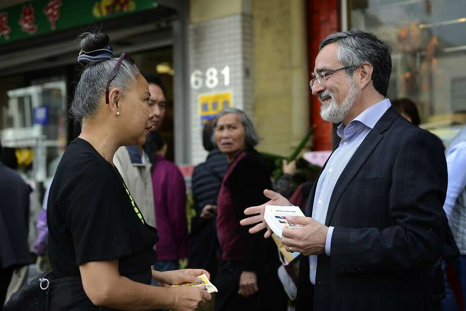 Aaron Peskin, who is running for District 3 supervisor for San Francisco, walks around campaigning in San Francisco, Calif., on Sunday, Nov. 1,  2015. Photo: Brandon Chew, Special To The Chronicle