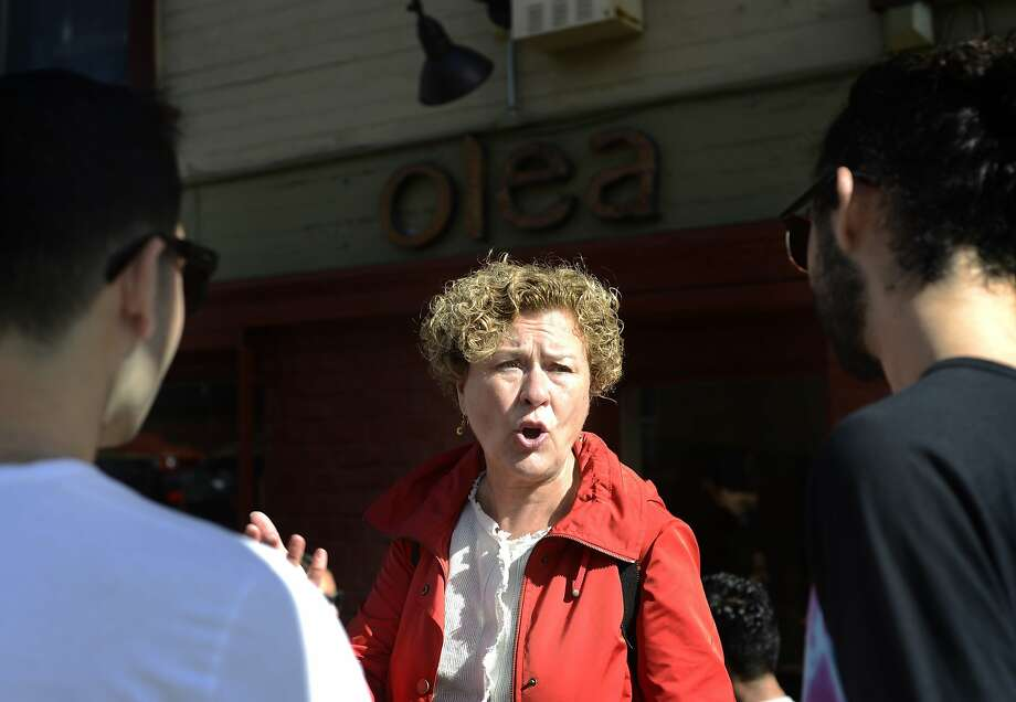 Julie Christensen, who is running for District 3 supervisor for San Francisco, talks to people about her campaign in San Francisco, Calif., on Sunday, Nov. 1,  2015. Photo: Brandon Chew, Special To The Chronicle