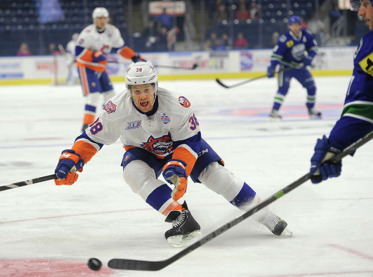 Sound Tiger Bracken Kearns pursues the puck during the first period of his team's AHL game with the Utica Comets at the Webster Bank Arena in Bridgeport, Conn. on Sunday, November 1, 2015.