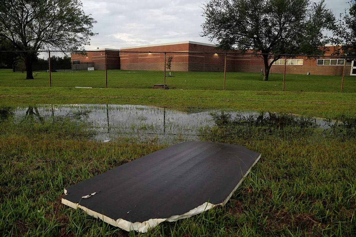 Scattered debris remains evident Sunday at La Porte ISD's Jennie Reid Elementary School, which experienced the worst damage from Saturday's storms.