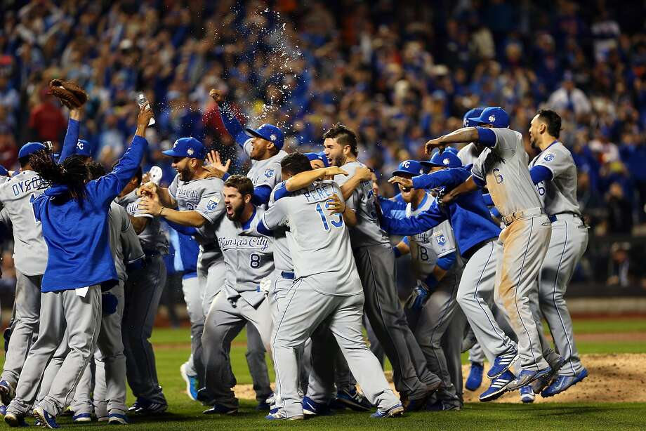 NEW YORK, NY - NOVEMBER 01:  The Kansas City Royals celebrate defeating the New York Mets to win Game Five of the 2015 World Series at Citi Field on November 1, 2015 in the Flushing neighborhood of the Queens borough of New York City. The Kansas City Royals defeated the New York Mets with a score of 7 to 2 to win the World Series.  (Photo by Elsa/Getty Images) Photo: Elsa, Getty Images