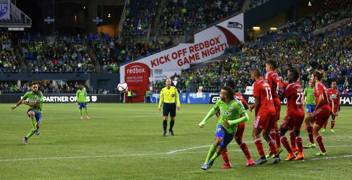 Seattle's Clint Dempsey scores the winning goal off of a free kick in the second half of game one of the MLS Conference Semifinals, Sunday, Nov. 1, 2015 at CenturyLink Field. The Sounders won 2-1.