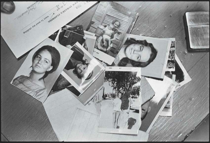 Contents of arriving prisoner's wallet. Huntsville, Texas. 1968. The Walls is a walled penitentiary, the oldest unit of the system and located near the center of the town of Huntsville.