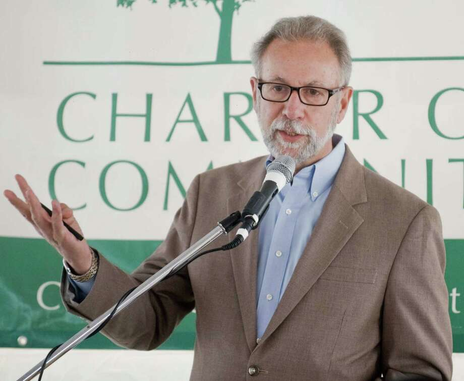 Vincent J. Tufo, executive director and CEO, Charter Oak Communities, speaks at another groundbreaking earlier this year. On Tuesday Morning COC and Inspirica will break ground at a senior housing development on Summer Street. Photo: Scott Mullin / Scott Mullin / The News-Times Freelance