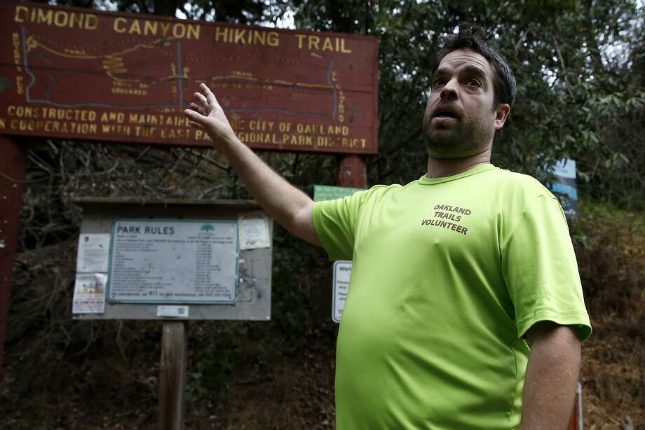 Stan Dodson stands in front of a map of the Dimond Canyon Hiking Trail in Dimond Canyon Park in Oakland, California, on Sunday, Nov. 1, 2015. Photo: Connor Radnovich, The Chronicle