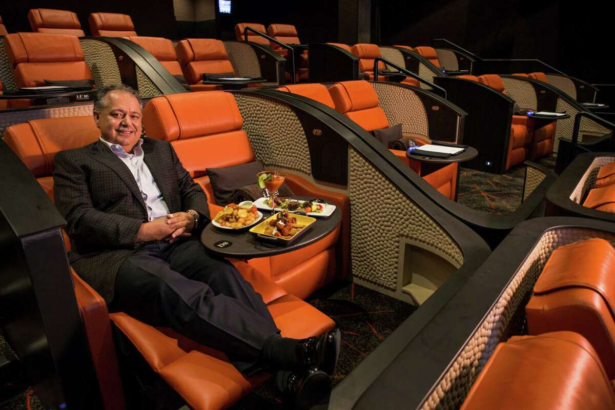Hamid Hashemi, iPic Entertainment chief executive, sits in one of the reclining seats in one of the auditoriums of the new iPic Theater, opening Nov. 6 in River Oaks.