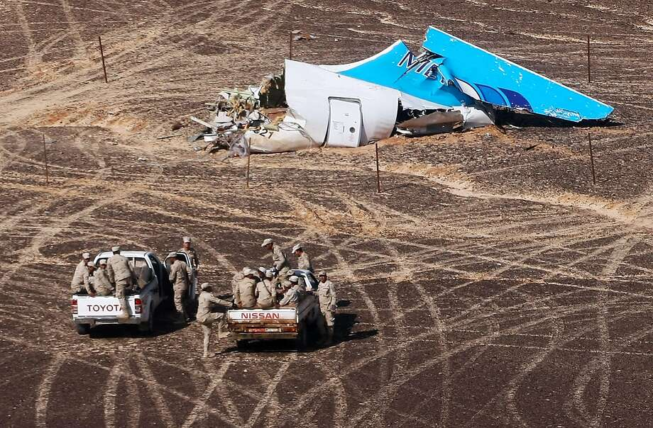 A photo from Russian authorities shows some of the wreckage of the jetliner. The plane departed Saturday from Sharm el-Sheikh for St. Petersburg. Photo: Maxim Grigoriev, Associated Press