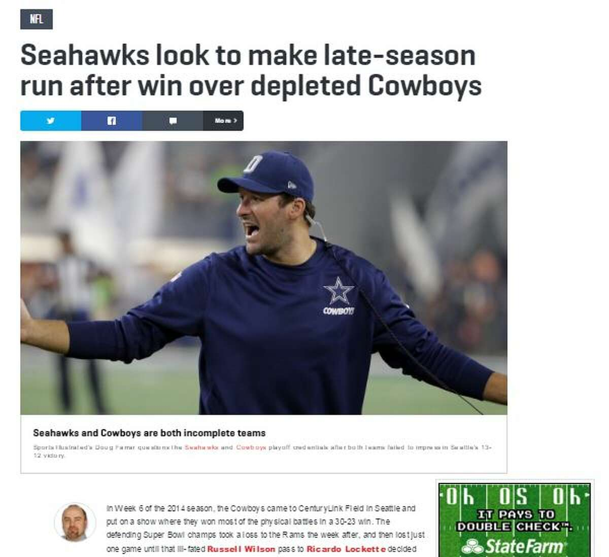 Sports Illustrated's Doug Farrar Even after the Seahawks evened their record with the road win, Farrar had some lingering questions about the team's ability to make a second-half surge up the standings.