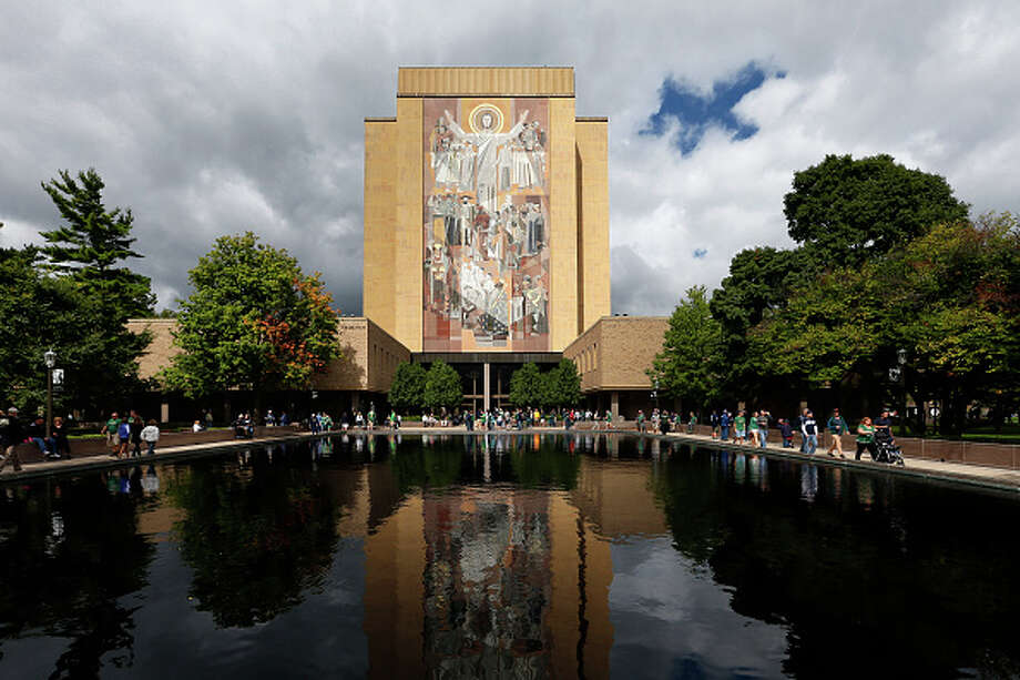 General view of the Theodore Hesburgh Library, also known as Touchdown Jesus, prior to the game between the Georgia Tech Yellow Jackets and Notre Dame Fighting Irish at Notre Dame Stadium on September 19, 2015 in South Bend, Indiana. Notre Dame defeated Georgia Tech 30-22. / 2015 Joe Robbins