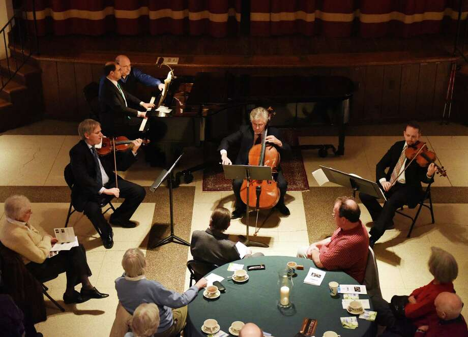 "Chamber Players of the Greenwich Symphony Orchestra perform during the ""Sunday Afternoons Live"" concert series at First Congregational Church of Greenwich in Old Greenwich this past February. New concerts are set for this coming Sunday and Monday. Photo: Tyler Sizemore / Tyler Sizemore / Greenwich Time"