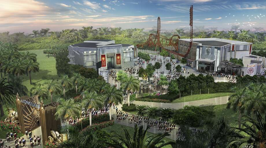 "A rendering of the proposed Hunger Games theme park. Roller coasters and other rides based on the ""Hunger Games"" movies will anchor proposed new theme parks in the United States and China. (Lionsgate via The New York Times) Photo: Lionsgate, New York Times"