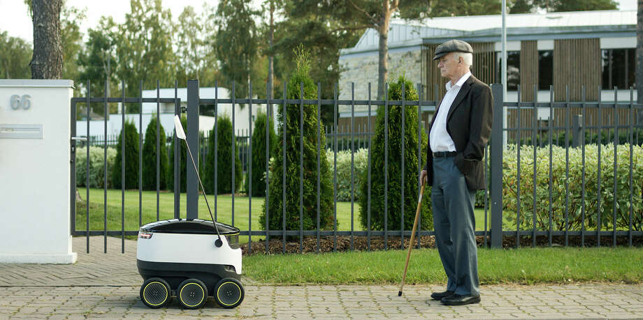 A look at the Starship Technologies delivery robot, which may debut in the U.S. in 2016.