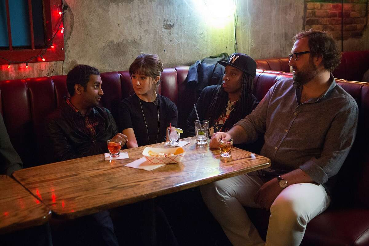 """Aziz Ansari, Noël Wells, Lena Waithe, Eric Wareheim in the Netflix original series """"Master of None"""". Photo Credit: K.C. Bailey/Netflix Master of None"""