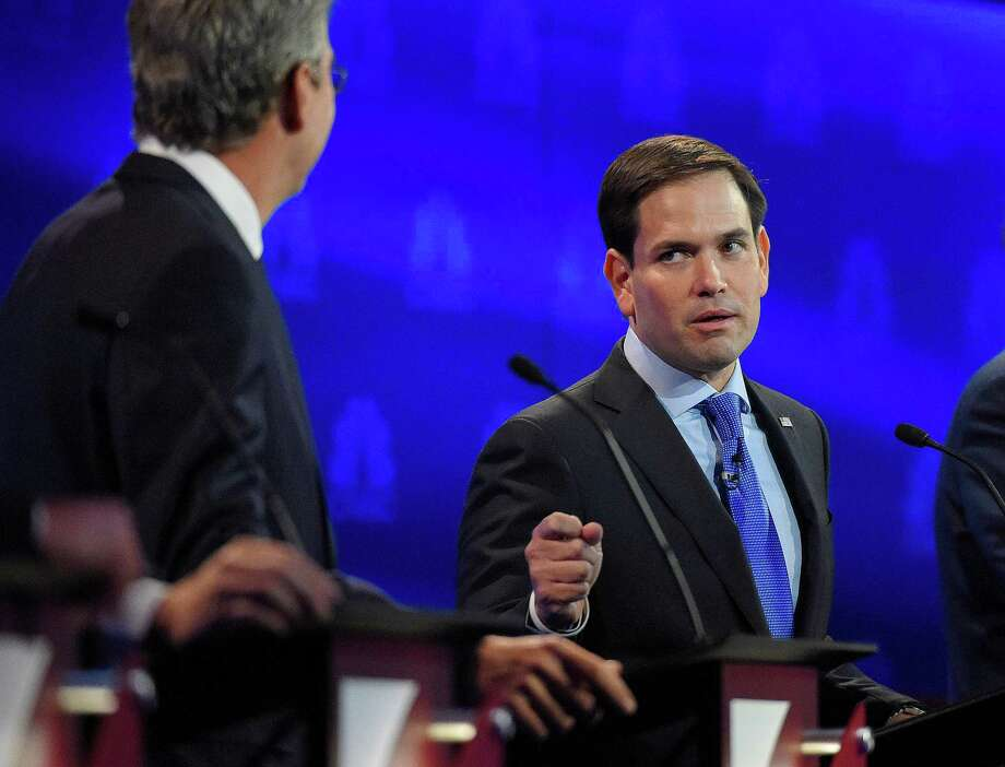 Marco Rubio, right, and Jeb Bush argue a point during the CNBC Republican presidential debate at the University of Colorado. Rubio's chances are looking strong, and he would made a great GOP leader along with House Speaker Paul Ryan. Photo: Mark J. Terrill /Associated Press / AP