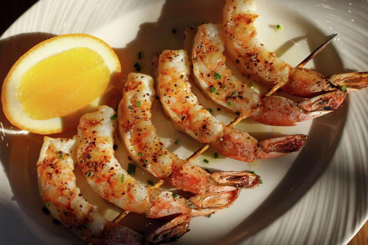Grilled shrimp with Aleppo pepper, sumac and lemon oil are simple and perfect, a triumph by Brandi Key of Clark/Cooper restaurant group.