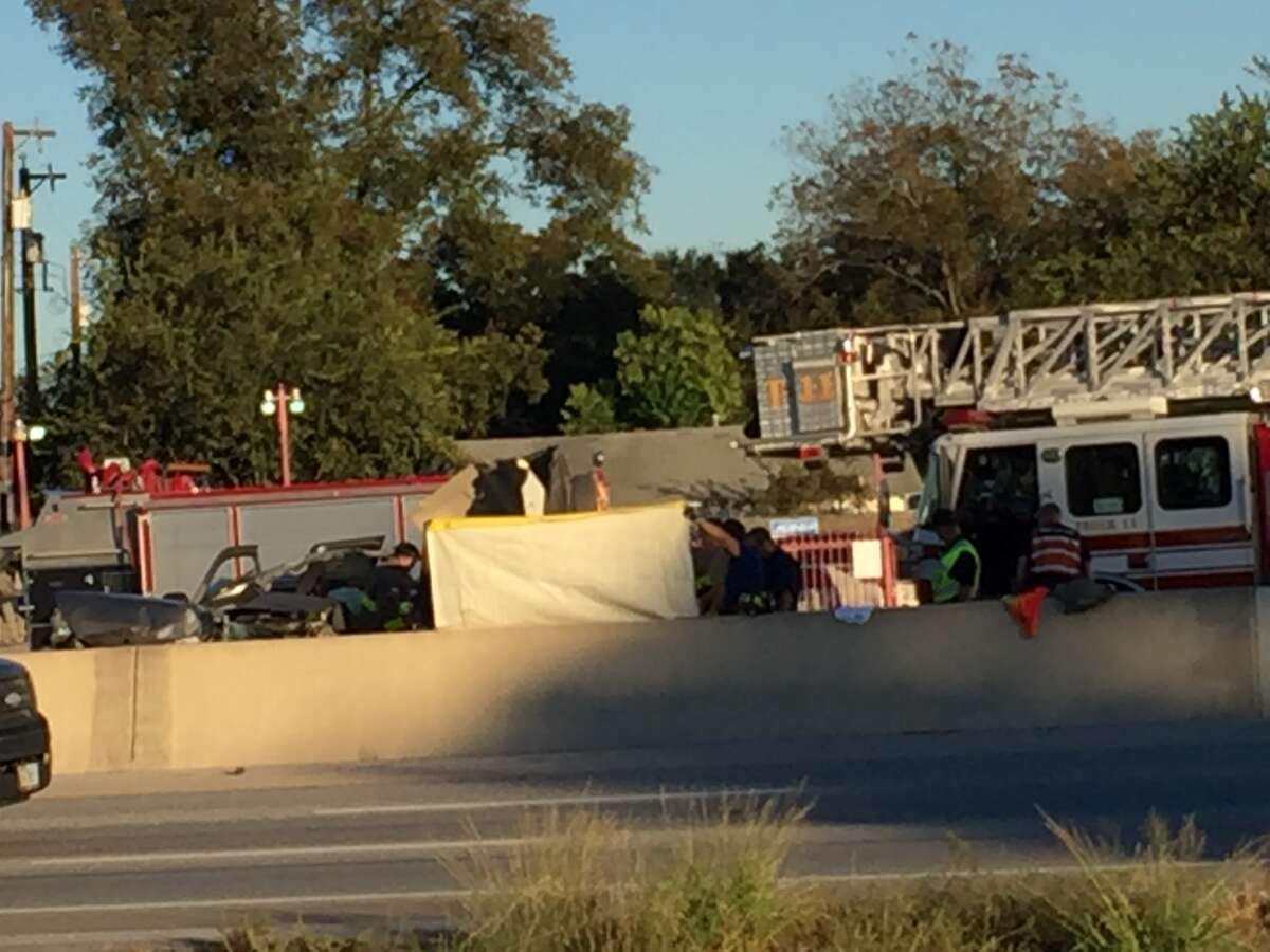 Emergency crews worked to clear the scene of a fatal accident on Interstate 35 Monday afternoon.