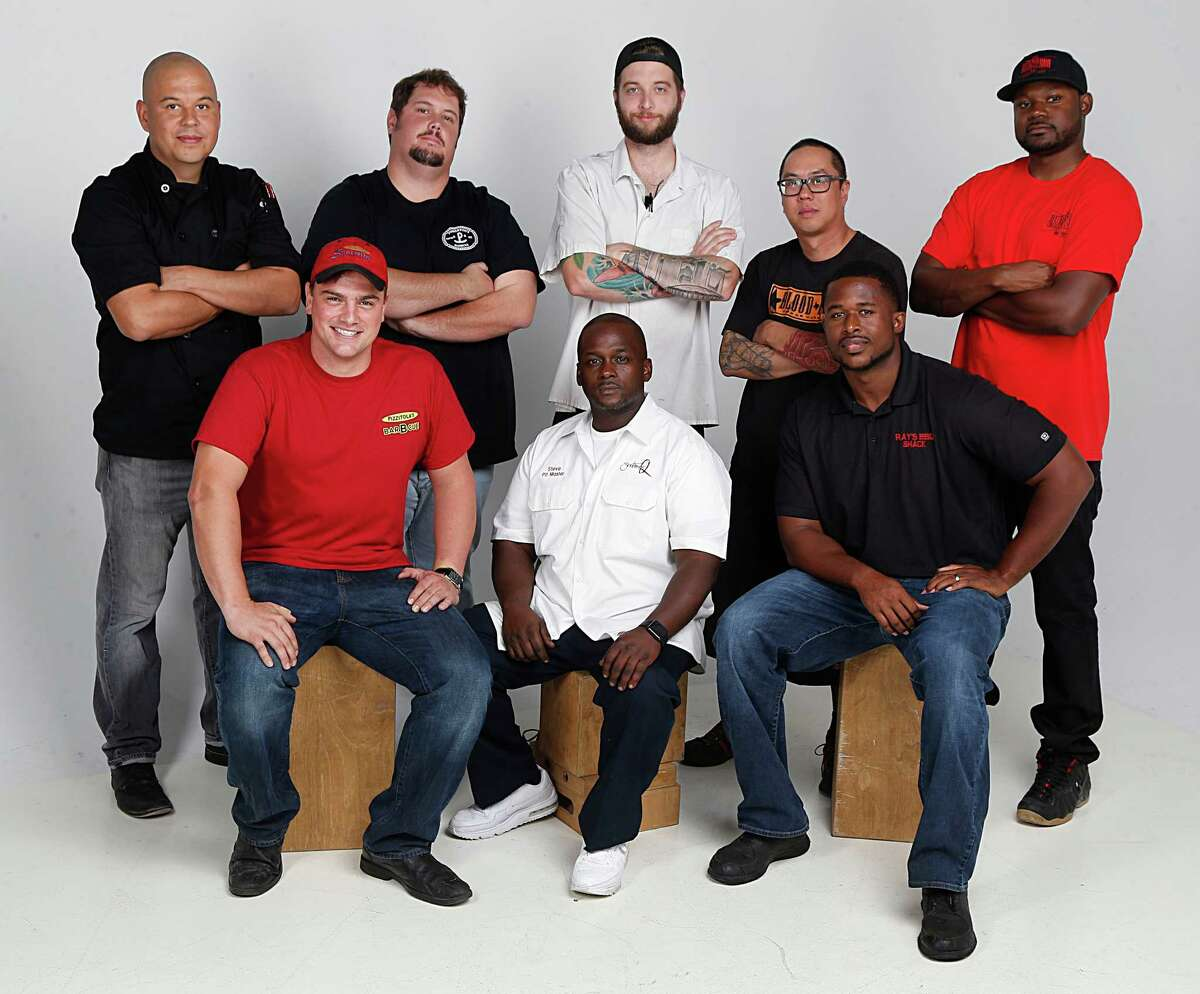 Back row, from left: John Avila, The Pit Room; Grant Pinkerton, Pinkerton's BBQ; Patrick Feges, Southern Goods; Quy Hoang, Blood Bros. BBQ; and Cory Crawford, Burns Original BBQ. Front row from left: Josh Scott, Pizzitola's; Steve Garner, Southern Q; and Herb Taylor, Ray's BBQ Shack.