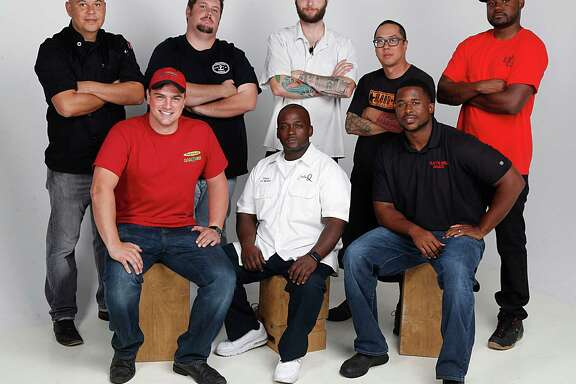 Back row from left, John Avila The Pit Room, Grant Pinkerton Pinkerton's BBQ, Bros BBQ, Patrick Feges Southern Goods, Quy Hoang Blood and Cory Crawford Burns Original BBQ, front row from left, Josh Scott Pizzitola's, Steve Garner Southern Q, Herb Taylor Ray's BBQ Shack pose for a portrait   Wednesday, Oct. 21, 2015, in Houston.   ( James Nielsen / Houston Chronicle )