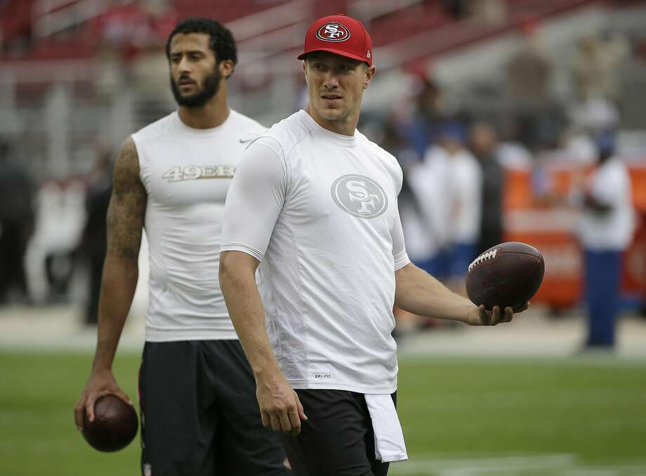 Blaine Gabbert, right, will reportedly start for the 49ers Sunday against Atlanta, taking the place of the benched Colin Kaepernick. Photo: Marcio Jose Sanchez, Associated Press