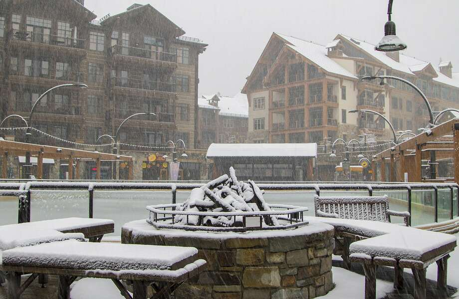 In this photo provided by Northstar California, snow falls on The Village at Northstar ski resort Monday, Nov. 2, 2015, in Truckee, Calif. Photo: Associated Press
