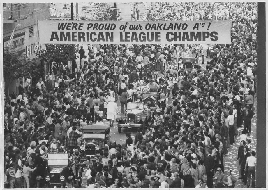 The Oakland A's 1972 World Series victory parade in downtown Oakland. Photo: Stephanie Maze