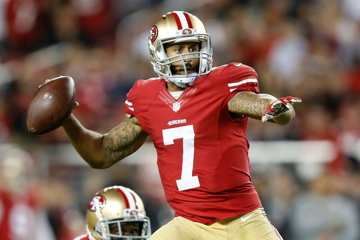 Colin Kaepernick #7 of the San Francisco 49ers attempts a pass against the Seattle Seahawks during their NFL game at Levi's Stadium on October 22, 2015 in Santa Clara, California.