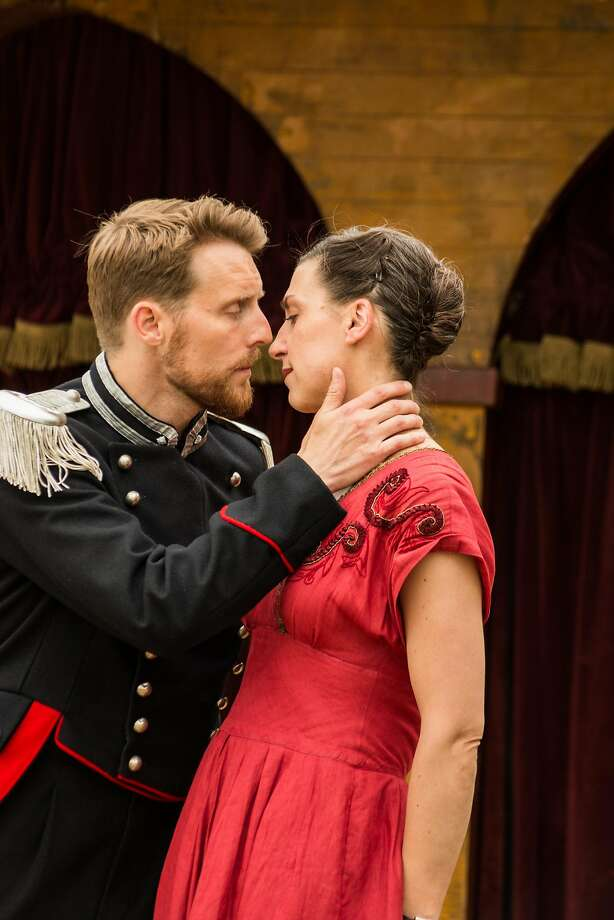 "Emma Pallant (right) as Beatrice and Christopher Harper as Benedick in Shakespeare's Globe Theatre's touring ""Much Ado About Nothing"" Photo: Helena Miscioscia"