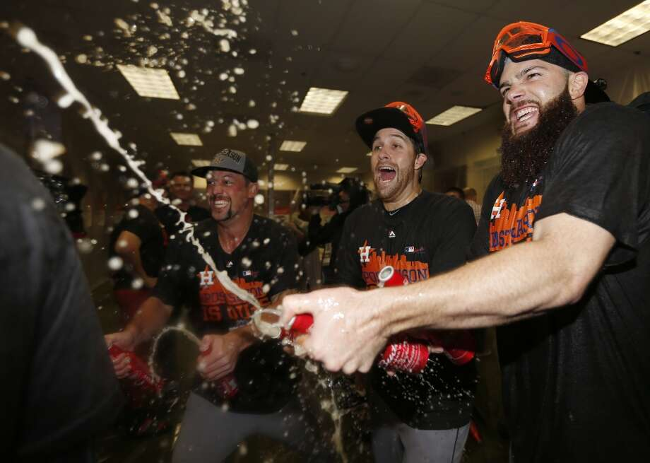 Oct. 4: Diamondbacks 5, Astros 3  The Astros lost the regular season finale, but Jose Altuve recorded his 200th hit of the season and the Astros celebrated their wild card berth, courtesy of the Rangers win over the Angels earlier in the day.  Record: 86-76 Photo: Karen Warren, Houston Chronicle