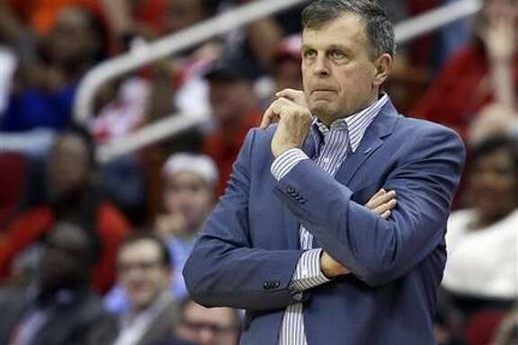Houston Rockets head coach Kevin McHale watches from the sideline in the first half of an NBA basketball game against the Oklahoma City Thunder, Monday, Nov. 2, 2015, in Houston. (AP Photo/Pat Sullivan)