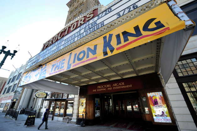 """The marquee of the Proctor's Theatre in Schenectady, New York shows off the """"Lion King"""" production in big letter February 23, 2011.  (Skip Dickstein / Times Union) Photo: Skip Dickstein / 00012166A"""