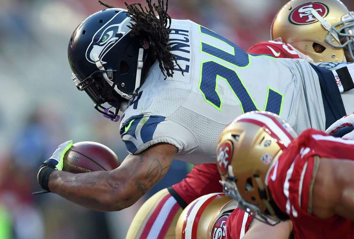 Running backs: B+ The Seahawks, for all their offensive troubles, have the second best rushing attack in the NFL, at 139.5 yards per game. That's impressive, considering running back Marshawn Lynch is on pace for his lowest rushing total since 2010. Through six games, Lynch is averaging just 3.6 yards-per-carry and has two touchdowns.
