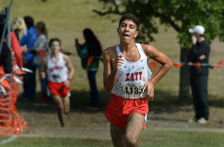 Katy senior Peter Eskandr pushes to the finish line during the Class 6A Boys 5K Run at the UIL Region III Cross Country Championships at Kate Barr-Ross Park in Huntsville on Oct. 26, 2015. (Photo by Jerry Baker/Freelance)4 Photo: Jerry Baker, Freelance