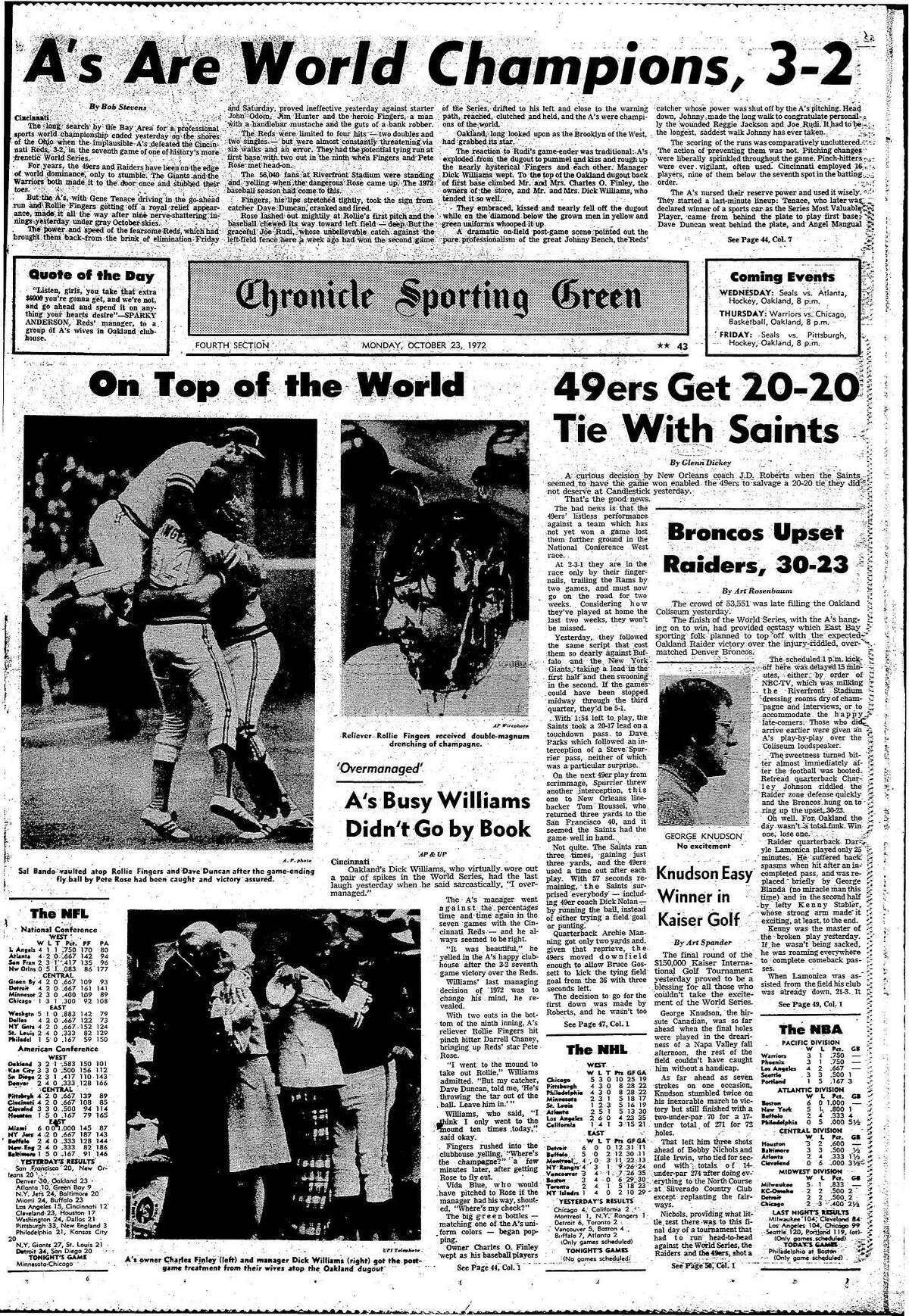 1972 World Series between the Oakland A's vs the Cincinnati Reds Historic Chronicle Front page, 10/23/1972