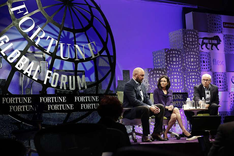 Venture capitalist Marc Andreessen of Andreessen Horowitz (left) and Facebook COO Sheryl Sandberg (middle) discuss the future of mobile at the Fortune Global Forum conference in San Francisco, Calif., on Tuesday, November 3, 2015.  Allan Murray (right) of Fortune moderates the event. Photo: Liz Hafalia, The Chronicle