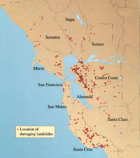 This USGS map plots 441 recorded landslides from the rainy season of 1997-1998