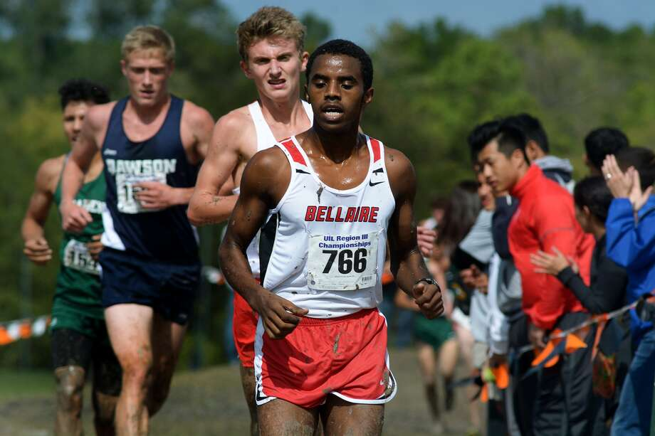 Houston Bellaire junior Ababu Mohamed (766) competes during the Class 6A Boys 5K Run at the UIL Region III Cross Country Championships at Kate Barr-Ross Park in Huntsville on Oct. 26, 2015. (Photo by Jerry Baker/Freelance)4 Photo: Jerry Baker, Freelance
