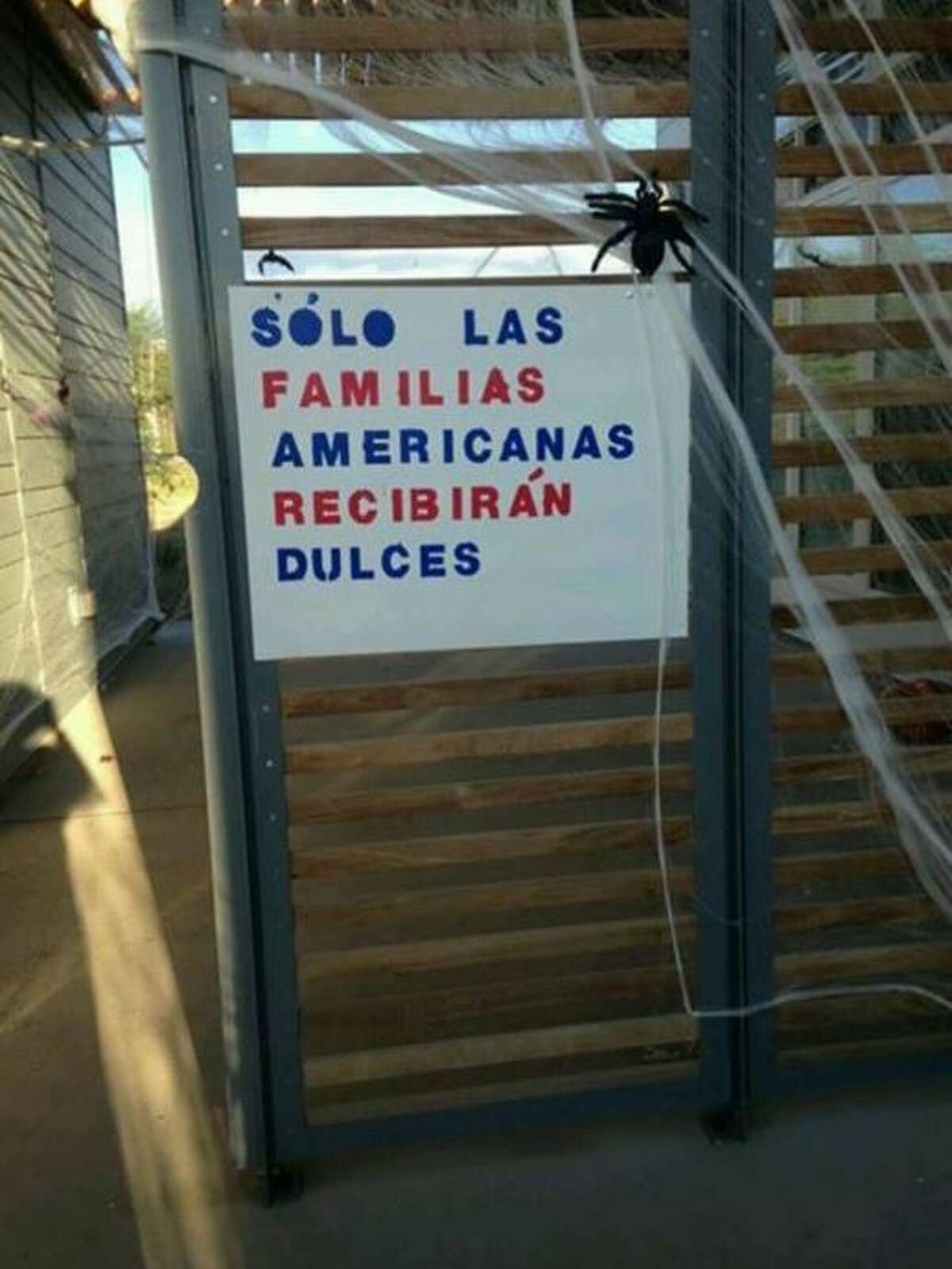 Mexican children were rejected from candy on Halloween by a controversial sign hung outside the home of a U.S. Customs and Border employee in small town Presidio causing many, including the mayor, to speak out against it.