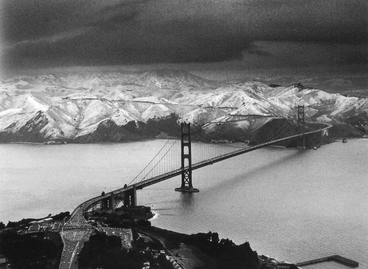 It snowed one to two inches on San Francisco streets in Feb. 5, 1976, dusting the Marin Headlands, just north of the Golden Gate Bridge.